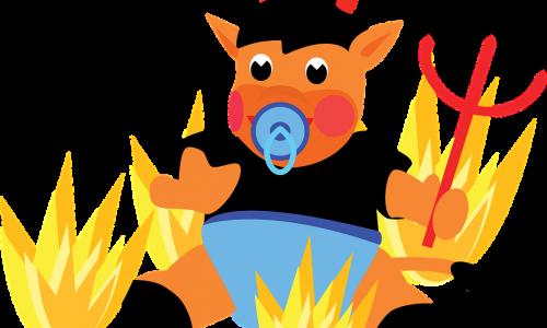 diavoletto col ciuccio tra le fiamme